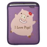I Love Pigs (plump pig) iPad Sleeve