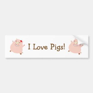 I Love Pigs (plump piggy) Bumper Sticker