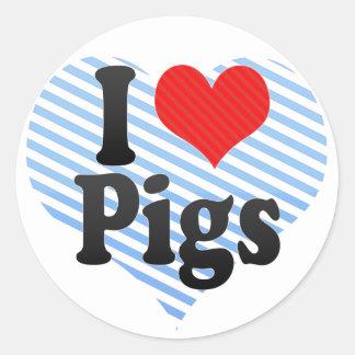 I Love Pigs Classic Round Sticker