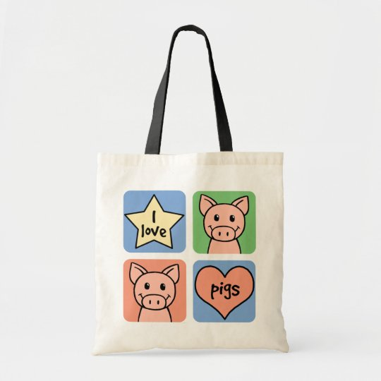 I Love Pigs Tote Bag