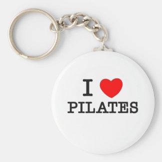 I Love Pilates Basic Round Button Keychain