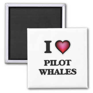 I Love Pilot Whales 2 Inch Square Magnet