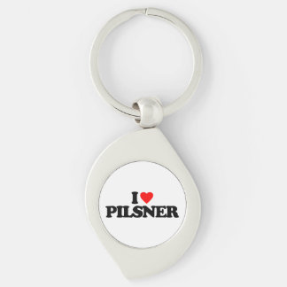 I LOVE PILSNER Silver-Colored SWIRL METAL KEYCHAIN
