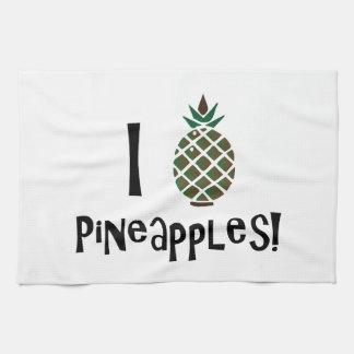 I Love Pineapples Hand Towels