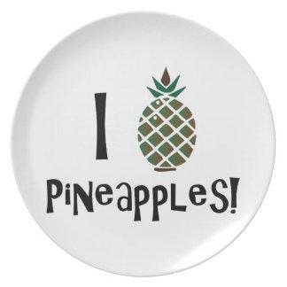 I Love Pineapples Plate
