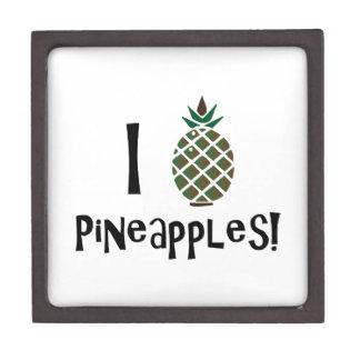 I Love Pineapples Premium Keepsake Box