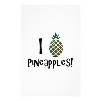I Love Pineapples Stationery Paper