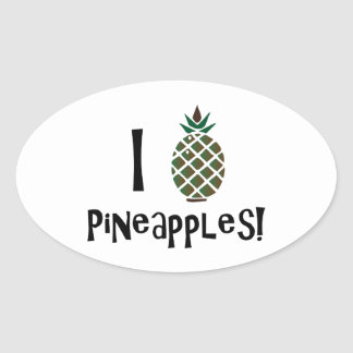 I Love Pineapples Stickers