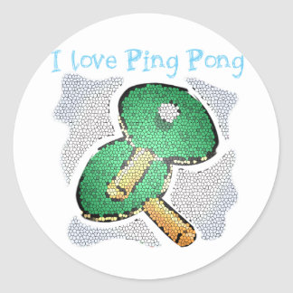 I Love Ping Pong Power Table Tennis Classic Round Sticker