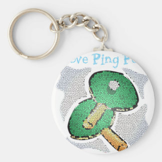 I Love Ping Pong Power Table Tennis Keychain