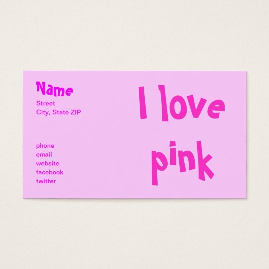 I love pink business card