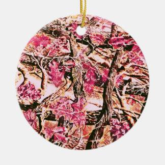 I Love Pink Camo Ceramic Ornament