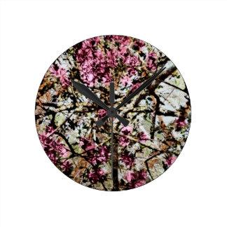 I Love Pink Camo Round Clock