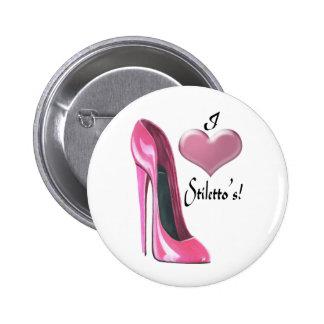 I love Pink High Heel Stiletto Shoe Art 2 Inch Round Button