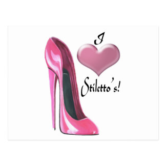 I love Pink High Heel Stiletto Shoe Art Postcard