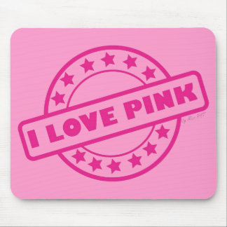 I Love Pink Mouse Pad