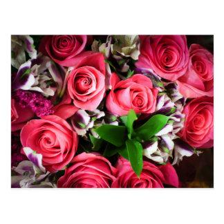 I Love Pink Roses Postcard