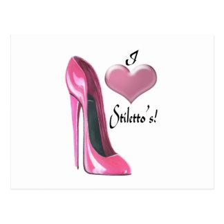 I love pink stiletto high heel shoe art postcard