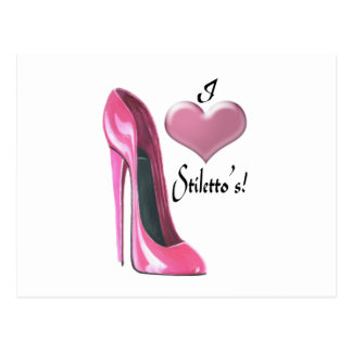 I love pink stiletto shoe and 3D heart Postcard