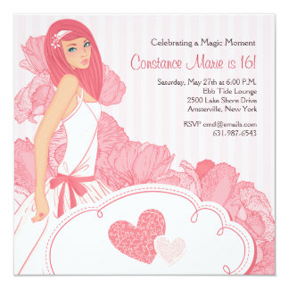 I Love Pink Sweet Sixteen Invitation