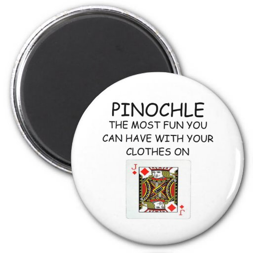 i love pinochle 2 inch round magnet