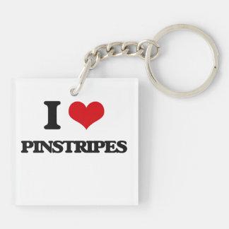 I Love Pinstripes Square Acrylic Keychain