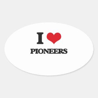 I Love Pioneers Oval Sticker