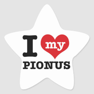 I Love pionus Star Sticker