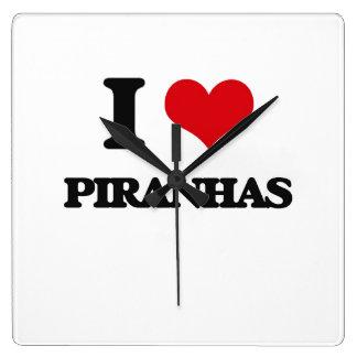 I Love Piranhas Square Wall Clocks