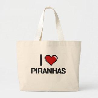 I love Piranhas Digital Design Jumbo Tote Bag