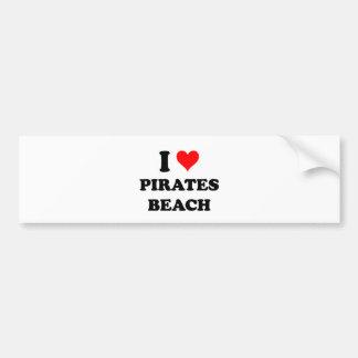 I Love Pirates Beach Texas Car Bumper Sticker