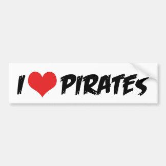 I Love Pirates Bumper Sticker Car Bumper Sticker