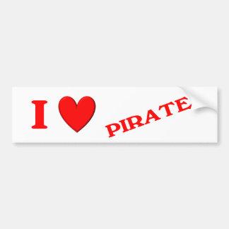 I Love Pirates Car Bumper Sticker