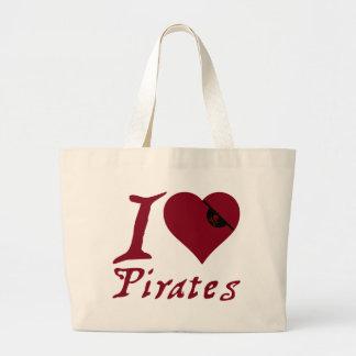 I Love Pirates Large Tote Bag