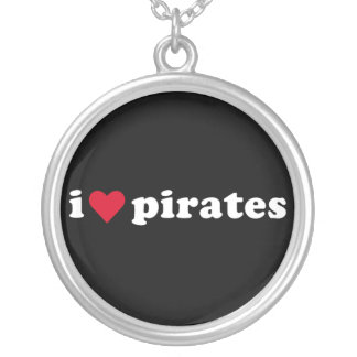 I Love Pirates Silver Plated Necklace