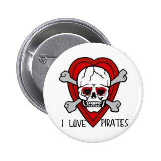 I LOVE PIRATES SKULL AND CROSSBONES HEART TATTOO PINBACK BUTTON