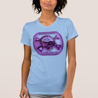 I LOVE PIRATES...SKULLY PINK PRINT T-Shirt