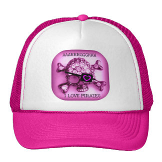 I LOVE PIRATES SKULLY PINK PRINT TRUCKER HAT