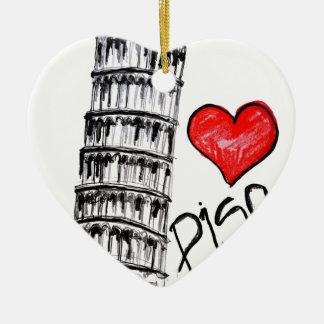 I love Pisa Ceramic Ornament