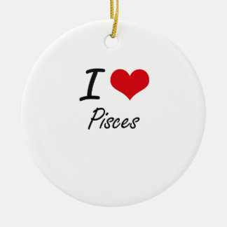 I Love Pisces Double-Sided Ceramic Round Christmas Ornament