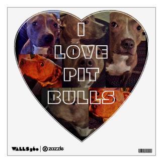 I LOVE PIT BULLS heart wall decal
