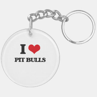 I love Pit Bulls Double-Sided Round Acrylic Keychain