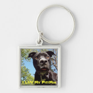 I love Pit Bulls/mix Silver-Colored Square Keychain