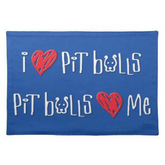 I Love Pit Bulls - Pit Bulls Love Me Cloth Placemat
