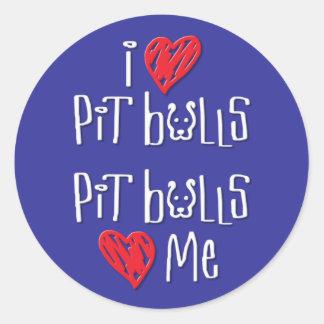I Love Pit Bulls - Pit Bulls Love Me Round Stickers