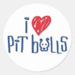 I Love Pit Bulls Round Sticker
