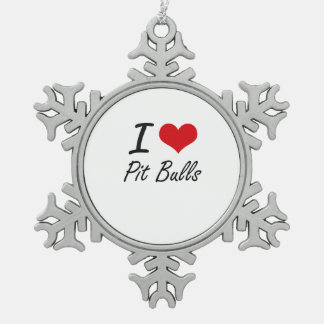 I love Pit Bulls Snowflake Pewter Christmas Ornament