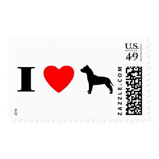 I Love Pit Bulls Stamps