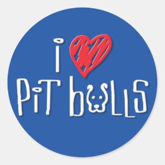 I Love Pit Bulls Round Stickers
