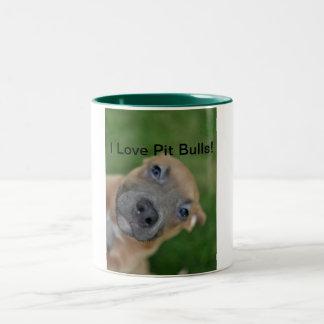 I Love Pit Bulls! Two-Tone Coffee Mug